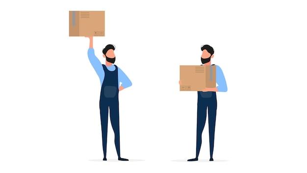 ローダーのセット。オーバーオールのローダーは箱を持っています。箱を手にした男。白い背景で隔離。 。