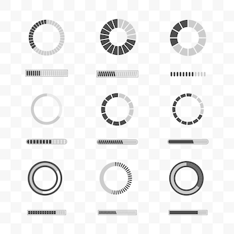 Set of loading and progress bar icon template