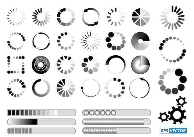 로딩 바 아이콘 또는 검정 흰색 프리로더 그림 또는 인터넷 다운로드를 위한 로딩 표시 세트