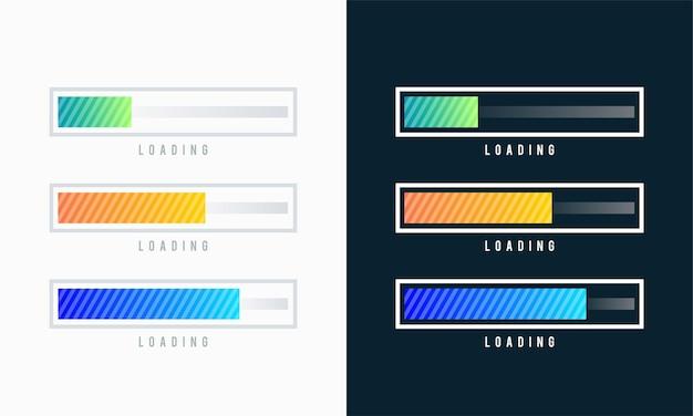 로드 바 벡터 일러스트 레이 션의 집합입니다. 진행 시각화. 상태 수집을 로드 중입니다. 웹 디자인 요소, 로딩 인포그래픽 벡터 템플릿