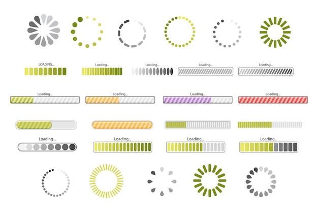 인터페이스 디자인을 위한 로드 진행률 표시줄, 프로세스 및 상태 아이콘의 집합입니다. 대시보드 요소, 디지털 ui 탐색