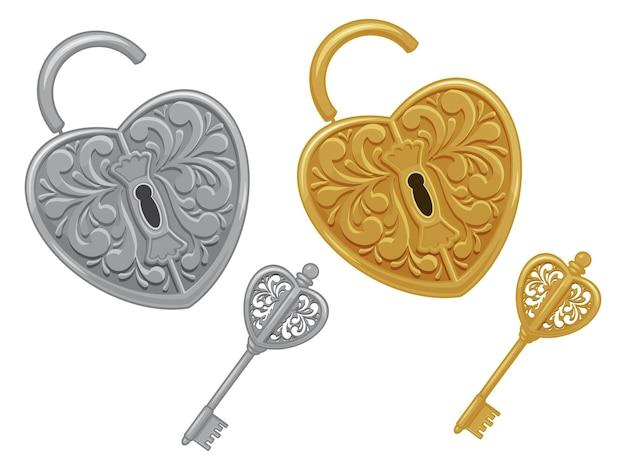 자물쇠와 열쇠, 금색과 은색의 집합입니다. 흰색으로 격리. 삽화. 만화 스타일.