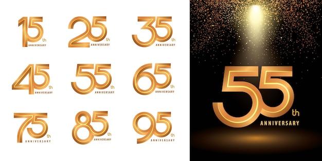 Набор логотипа юбилейного логотипа, тиснение логотипа празднования годовщины для поздравления