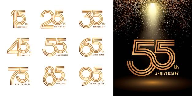 ロゴアニバーサリーロゴタイプのセット、おめでとうのためのアニバーサリーロゴの3行目を祝う
