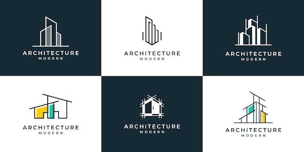 Набор архитектуры логотипа с шаблоном дизайна логотипа концепции лайнера