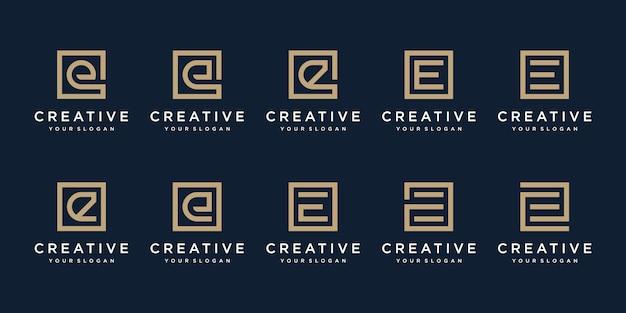 スクエアスタイルのロゴデザイン文字eのセット。テンプレート