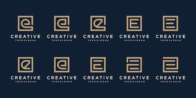 Набор буквы e дизайн логотипа с квадратным стилем. шаблон