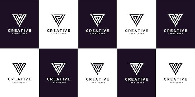 정사각형 스타일 템플릿이 있는 로고 디자인 문자 g 세트 premium vector