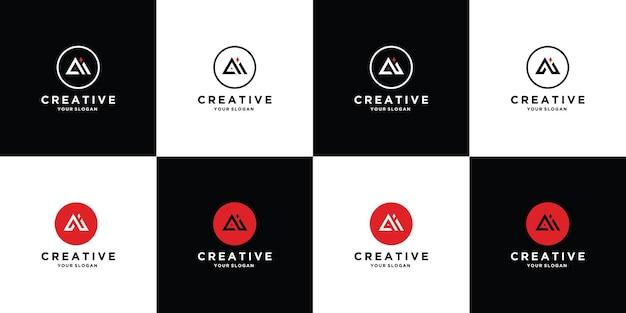 원형 스타일이 있는 로고 디자인 문자 a와 i 세트 premium vector