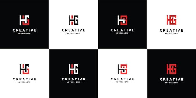 정사각형 스타일 프리미엄 벡터가 있는 로고 디자인 문자 h 및 g 세트