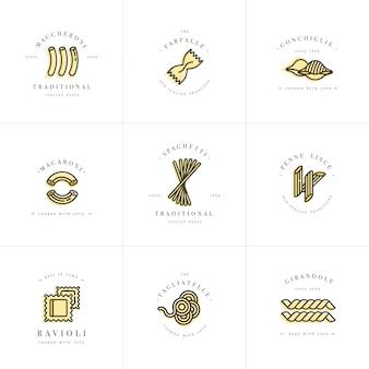 ロゴデザインテンプレートとエンブレムやバッジのセット。イタリアのパスタ-麺、マカロニ。線形ロゴ。