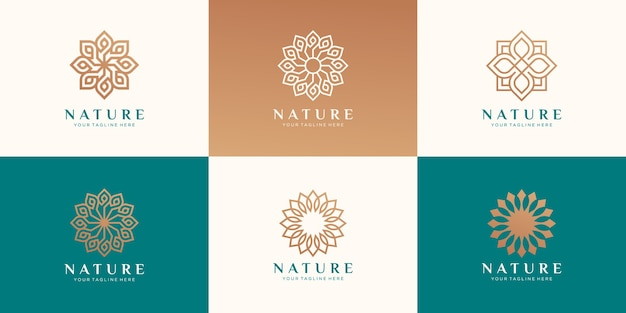 美容、化粧品、ヨガ、スパのための花のロゴのセット。