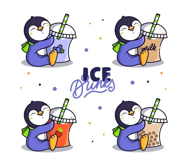Набор логотипа ice drink. логотип пингвин пьет напитки