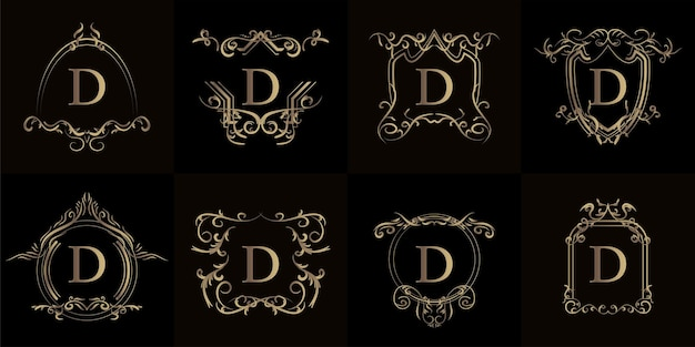 고급 장식 또는 꽃 프레임이 있는 로고 이니셜 d 세트