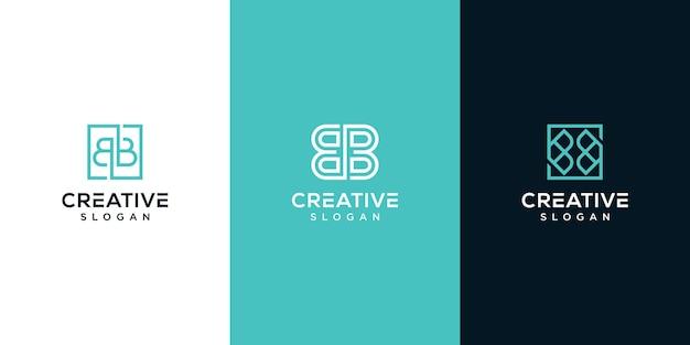 ロゴ文字bモノグラムロゴデザインのセット