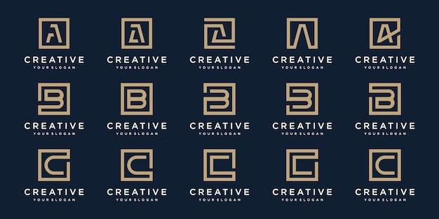 スクエアスタイルのロゴ文字a、b、cのセット。テンプレート