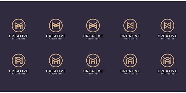 사각형으로 로고 문자 m의 집합입니다.