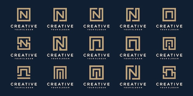 正方形のスタイルのロゴ文字nのセット。テンプレート