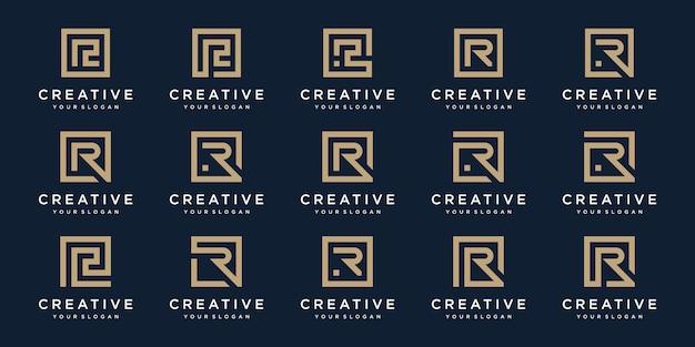 スクエアスタイルのロゴ文字rのセット。テンプレート