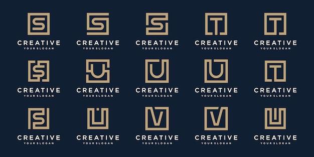 スクエアスタイルのロゴ文字s、t、v、uのセット。テンプレート