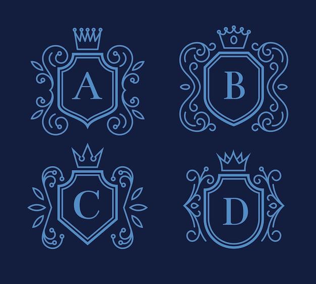 盾と王冠のロゴまたはモノグラムデザインのセット。ビクトリア朝のフレーム