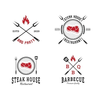 ロゴテンプレートバーベキュー、バーベキュー、グリル、ステーキハウスのエンブレムのセット