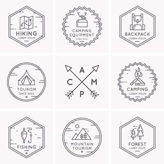 캠핑과 하이킹을위한 로고 및 기호 집합