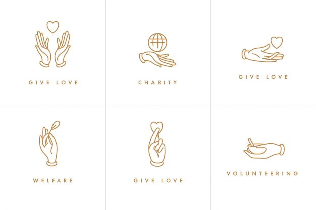 ロゴ、バッジ、慈善団体やボランティアの概念のためのアイコンのセット。慈善団体がデザインに署名します。ボランティア団体の収集シンボル。
