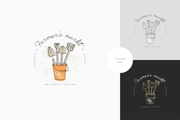 ロゴ、バッジ、農家や園芸工具のアイコンのセットです。ガーデニングのコレクションシンボル。