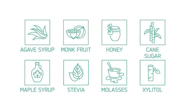 자연 및 유기농 제품에 대 한 로고, 배지 및 아이콘의 집합입니다. 건강한 제품 및 설탕 대체품, 천연 대체품의 컬렉션 상징.