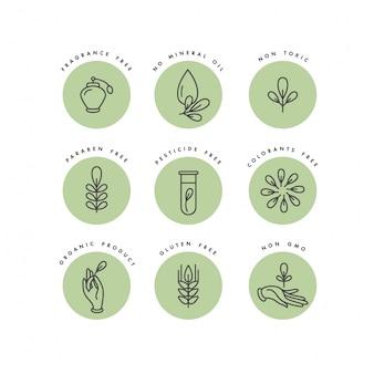 천연 및 유기농 제품에 대한 로고, 배지 및 아이콘 집합입니다. 에코 안전 표지 디자인. 건강한 제품의 컬렉션 상징.