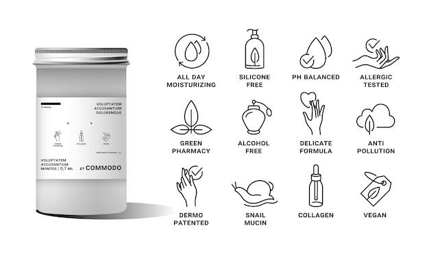 천연 및 유기농 제품에 대한 로고 배지 및 아이콘 세트
