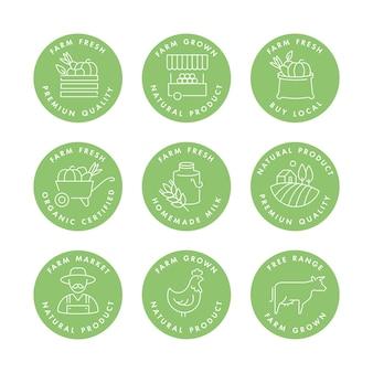 自然の農産物や健康製品のロゴ、バッジ、アイコンのセット。