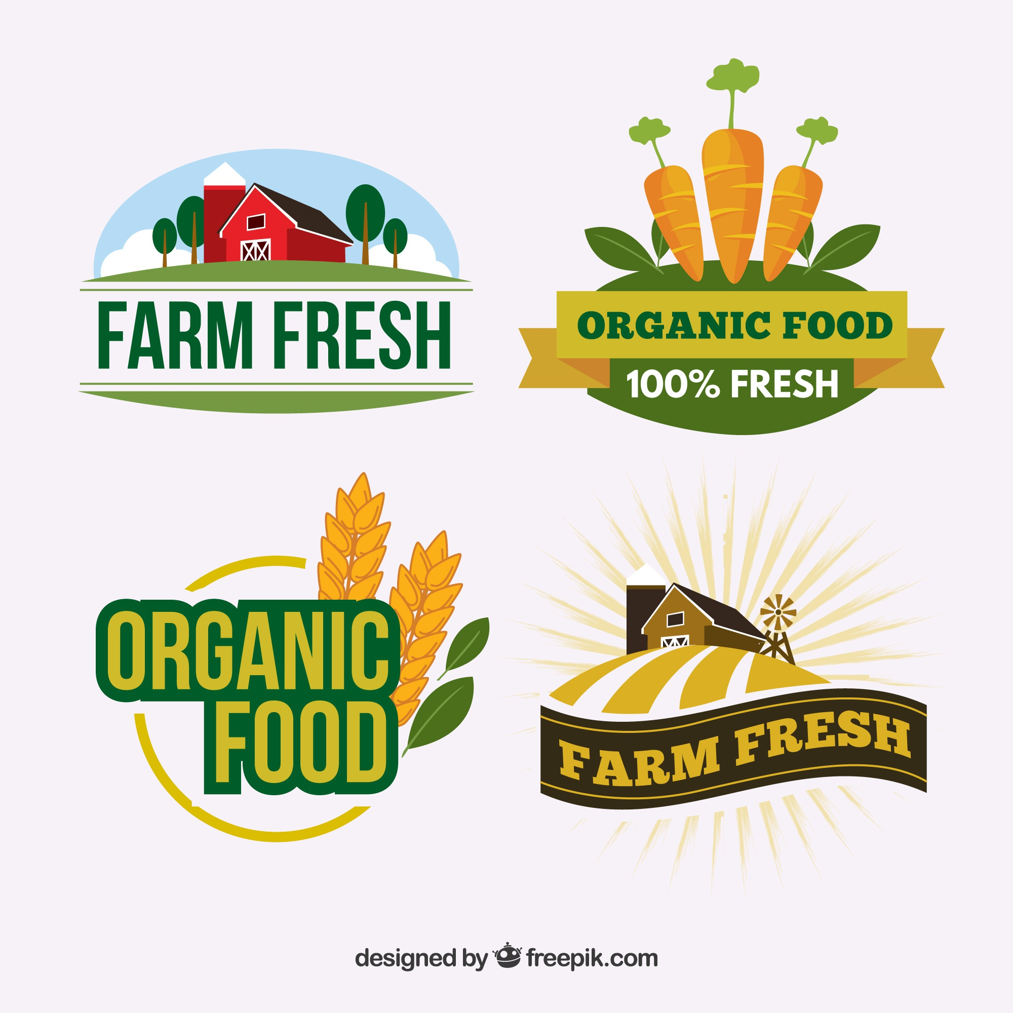 Set of logos for organic food companies