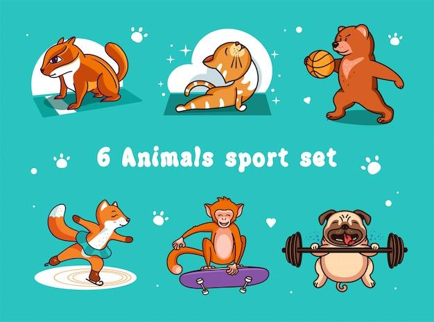 Набор логотипов забавных спортивных животных: кошка, медведь, собака, лиса, обезьяна, бурундук.