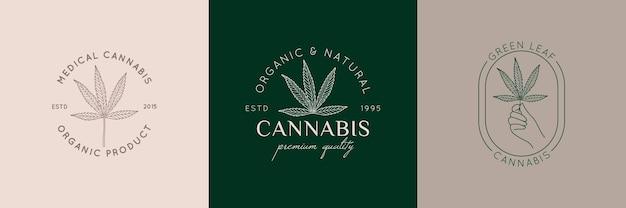 トレンディな最小限の線形スタイルのロゴのセットマリファナの葉。医療大麻の葉のバッジ。ブランディング、ウェブデザイン、パッケージングのための麻のベクトルアイコン