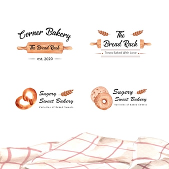 Набор логотипов хлебобулочных магазинов