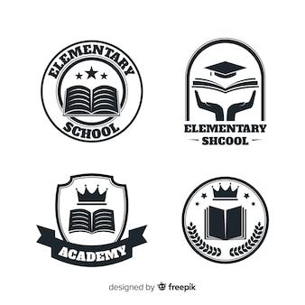 アカデミーまたは小学校のためのロゴまたはバッジのセット