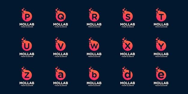 ドットと分子の概念のロゴテンプレートで頭文字のロゴタイプのセット。