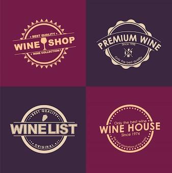 와인 상점을위한 로고 타입 세트