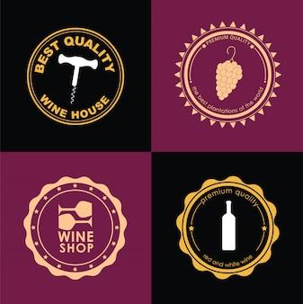 ワインショップのロゴタイプのセット
