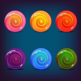 Набор конфет леденцов разных цветов