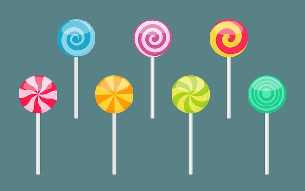 Набор леденцов на палочке сладких красочных конфет с различными спиральными и лучевыми узорами. векторные иллюстрации, изолированные на простой фон
