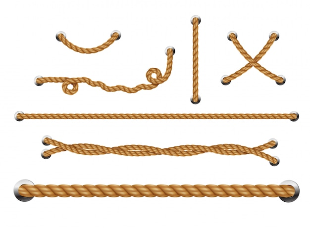 金属穴付きループロープのセット。ロープの糸。
