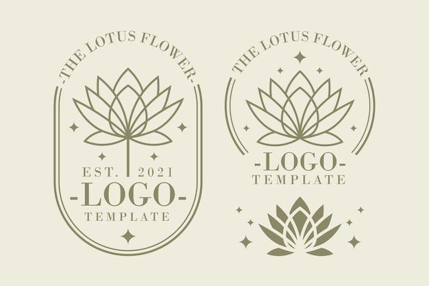 Набор шаблонов логотипов цветок лотоса Premium векторы