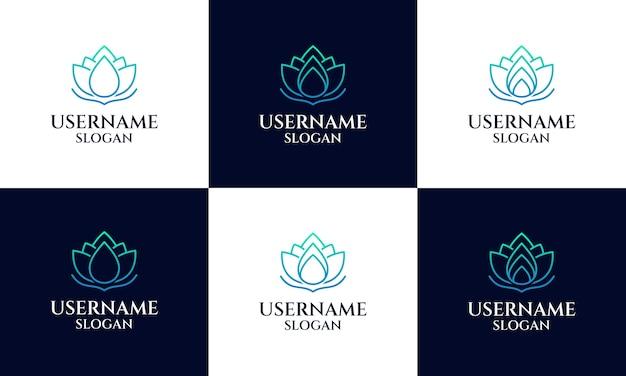 ロータスロゴデザインテンプレート、マグノリアフラワーラインアートスタイルのセット。ヨガ、スパ、ビューティーサロンの高級ロゴ