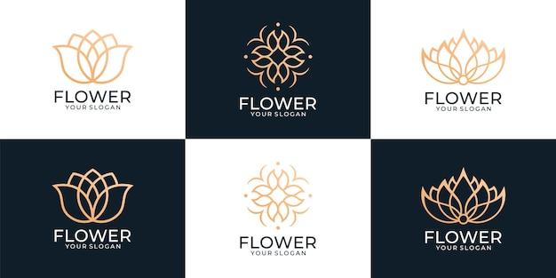 Набор логотипов медитации спа лотоса йоги
