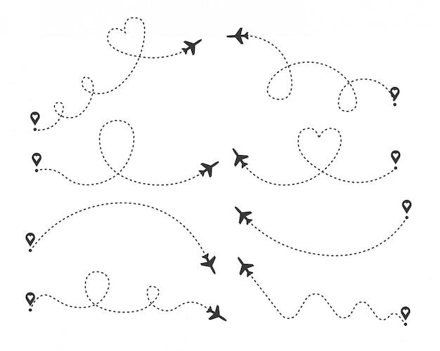 Набор любовных маршрутов самолетов. маршрут полета воздушного самолета с начальной точкой и трассой штриховой линии. романтические путешествия, сердце пунктирная путь, изолированные на прозрачном фоне. иллюстрации.