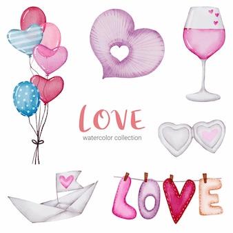 사랑 callection, 고립 된 수채화 발렌타인 개념 요소 집합 장식, 그림에 대 한 사랑스러운 로맨틱 레드-핑크 하트.