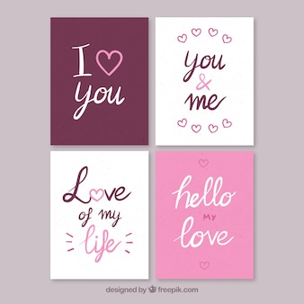 좋은 메시지와 함께 사랑 카드 세트